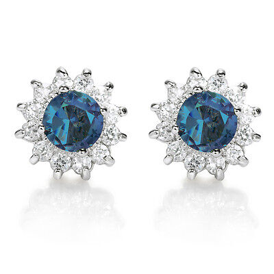 FASHION JEWELRY LADY ROUND CUT BLUE SAPPHIRE WHITE GOLD PLATED STUD EARRINGS NEW