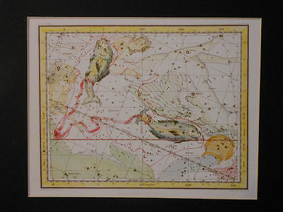 Celestial 1822 Map Pisces Constellation Matted