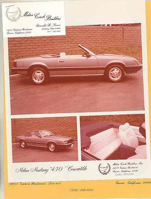 1980 Ford Mustang Milan Coach Custom Convertible Photo Brochure Encino wt0725