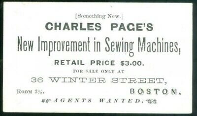 c1870 Business Card, Charles Pages Improvements in Sewing Machines, Boston
