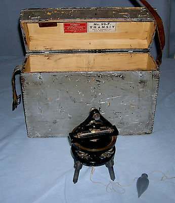 Antique L S Starrett Co Transit Base For No 99 Transit With Wood Case