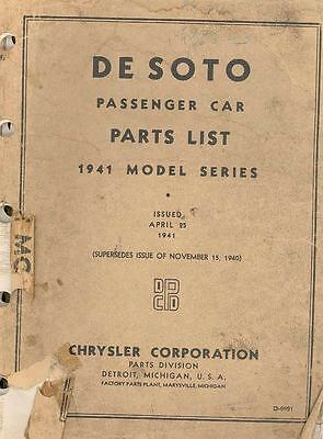 1941 DeSoto Passenger Car Chassis & Body Illustrated Parts Book I164-QU9BJP