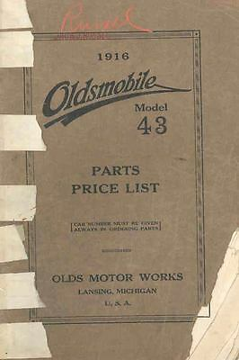 1916 Oldsmobile Model 43 Illustrated Parts Book I523-UUIG3T