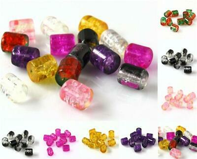TOP QUALITY TUBE CRACKLE GLASS BEADS 8mm x 7mm 50 PER BAG COLOUR CHOICE