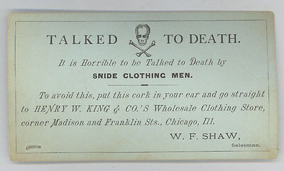 Wholesale Clothing Store Advertisement ~ Chicago Illinois ~ Talked To Death