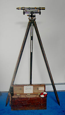 PAT 1927 GURLEY BRASS SURVEYORs LEVEL w TRIPOD, SUNSHIELD, TARGET and BandB CASE