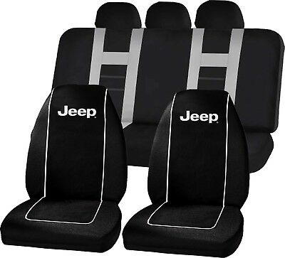 Jeep Logo Black High Back Seat Covers & Gray CLASSIC BENCH SEAT COVER SET