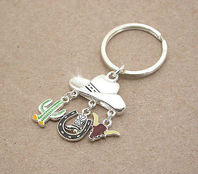 Horse &  Western Accessories Gifts Silver Tone Western Charms  Key Ring Chain