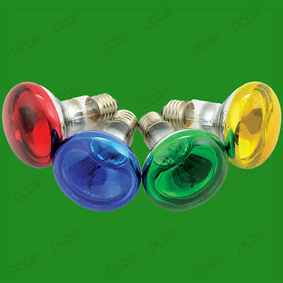 60W R80 Coloured Reflector Dimmable Disco Spot Light Bulbs ES E27 Screw Lamps