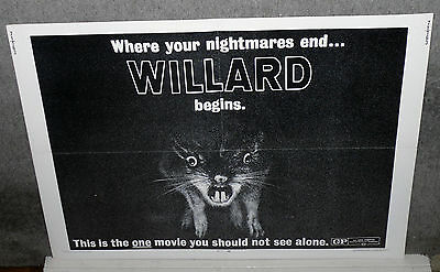 WILLARD original 1971 22x28 movie poster RATS/BRUCE DAVISON