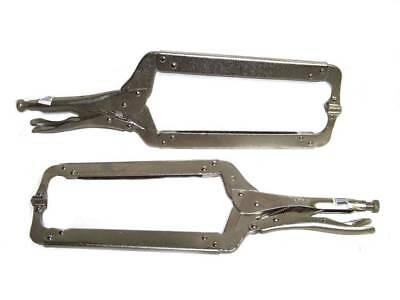 "18"" Locking C Clamp Pliers With Swivel Pad Welding Holding Clamps 2pcs Set Tools"