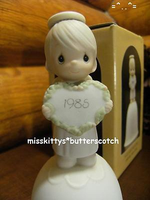 Precious Moments~BELL~Dated 1985~15873~God Sent His Love~Boy ANGEL Holding Heart