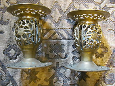 "Brass Lamp Fixtures-Vintage Pair-5 1/4"" Tall-X 4 3/8"" Bases"