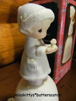 Precious Moments~BELL~DATED 1991~524182~May Your Christmas Be Merry~Girl w BIRD
