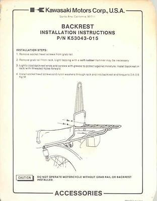 1979 Kawasaki Motorcycle Backrest Installation Brochure 103747-9D5DDF