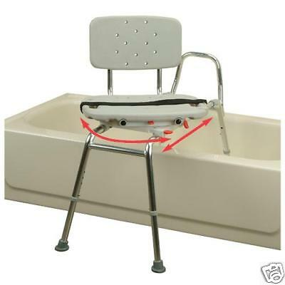 Snap-N-Save Sliding Transfer Bench 37662 w Swivel Seat Bath Safety Shower Chair