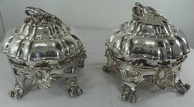 FAB Pair of ODIOT, France, Sterling Silver 3D COVERED VEGETABLE DISHES w/BURNERS