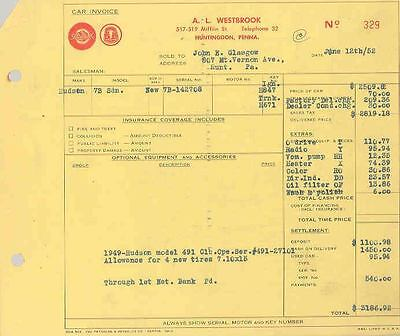 1952 Hudson 7b Sedan New Car Invoice 150875-M4EPE8