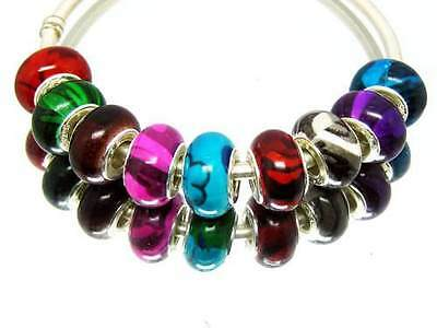 100 mix Pattern Resin Charm Beads Fit European Bracelet US SELLER QUICK DELIVERY