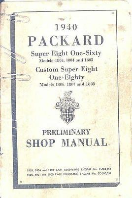 1940 Packard Super Eight 160 180 Owners Manual om1253-YL9DEB