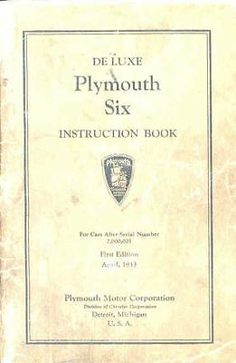 1933 Plymouth Six Deluxe Owners Manual 1st Edition om1260-A7BQA8