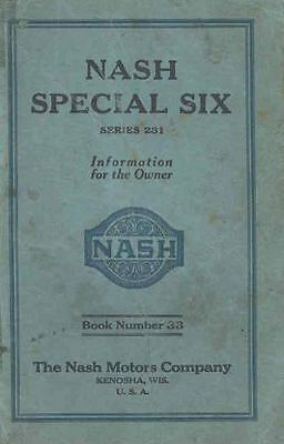 1926 Nash Special Six Series 231 Owner's Manual om406-CQQ172