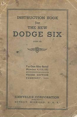 February 1936 Dodge Six 3rd Edition Owners Manual om742-1D6JLQ