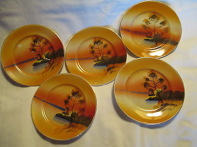 5 VINTAGE HAND PAINTED NIPPON BONE CHINA BISCUIT PLATES with WINDMILL & LAKE
