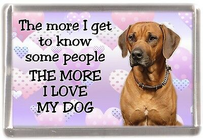 "Rhodesian Ridgeback Dog Fridge Magnet ""THE MORE I LOVE MY DOG"" by Starprint"