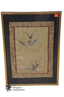 Antique Silk Embroidered Bird Wall Art Chinese Asian Oriental Embroidery Panel