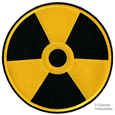 LARGE NUCLEAR RADIATION SYMBOL new EMBROIDERED IRON-ON YELLOW patch WARNING SIGN