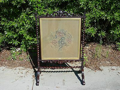 Fine Ornate Victorian Rosewood Firescreen Fire Screen w Period Floral Tapestry