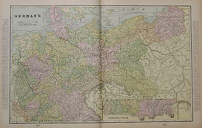 1898 Germany Large 2-page Color Atlas Map** Indexed with Populations