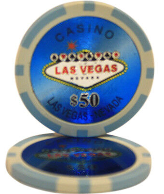 100pcs Las Vegas Laser Casino Clay Poker Chips $50