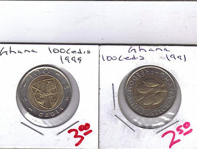 From Show Inv. - 2 NICE BI-METAL 100 CEDIS COINS from GHANA (1991 & 1999)