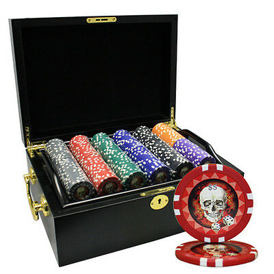 500pcs 13.5G SKULL POKER CHIPS SET WOOD CASE CUSTOM BUILD