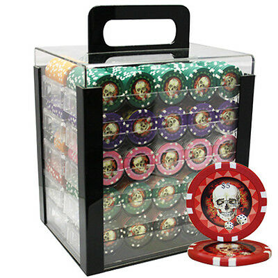 1000pcs 13.5G SKULL POKER CHIPS SET ACRYLIC CASE CUSTOM BUILD