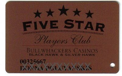Bullwackers Casino Five Star Bronze Slot Card Black Hawk & Silver Hawk Colorado