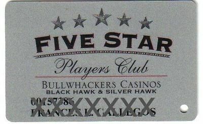 Bullwackers Casino Five Star Silver Slot Card Black Hawk & Silver Hawk Colorado