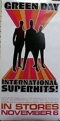 GREEN DAY 2001 international superhits pre promo poster ~MINT~NEW old stock~!
