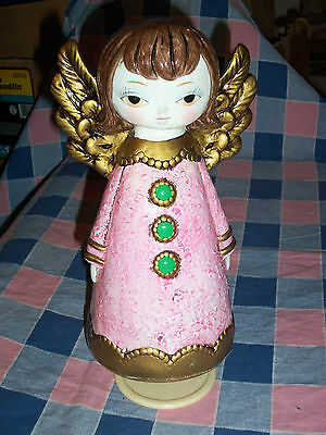 Beautiful Vintage Christmas Angel Musical Silent Night 9 Inches High