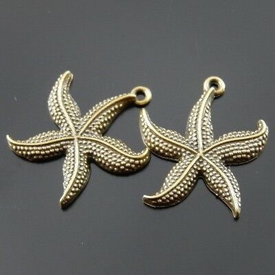 35X Vintage Style Bronze Tone Starfish Sea Star Pendant Charms Findings 24*23mm
