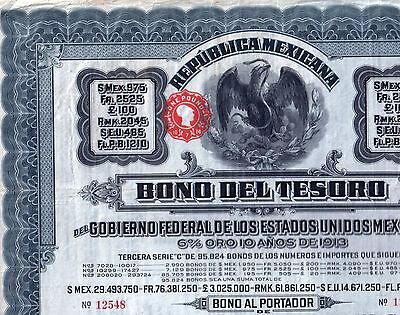 MEXICO 1913 BLUE DOVE GOLD $975 BOND (BONO TESORO) w COUPS/PASSCO! $50,000 elsew