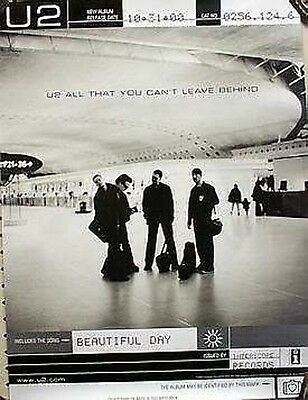 U2 2000 all you can't leave behind promotional poster ~MINT cond/NEW old stock~!