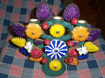 Beautiful Unmarked   ? Mexico Tree of Life Candelabra Birds Berries Flowers Leav