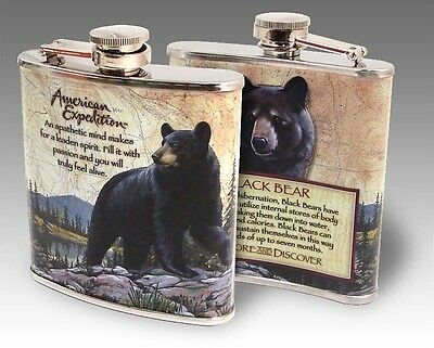 American Expedition Black Bear Steel Hip Flask 6 oz NIB Men's Gift Father's Day