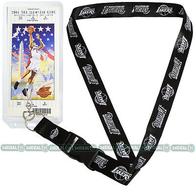 LOS ANGELES LAKERS OFFICIAL NBA LANYARD KEYCHAIN  /w TICKET HOLDER BLACKOUT