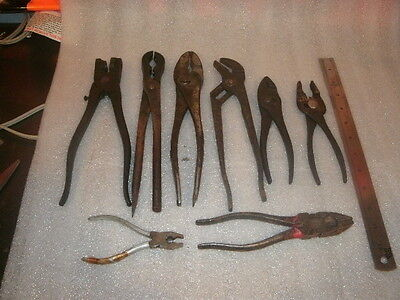 VINTAGE group lot of  CHANNELLOCK and other antique rare old metal PLIERS tools