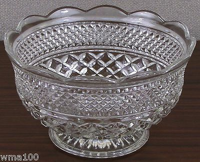 Vintage Anchor Hocking WEXFORD Large Footed Fruit Bowl Scalloped PRETTY!