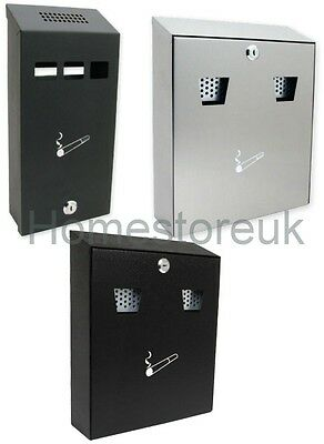 Stainless Steel / Metal Black Cigarette Ash Bin Ashtray Wall Mounted Outdoor Pub